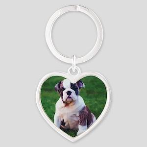 Bulldog Heart Keychain
