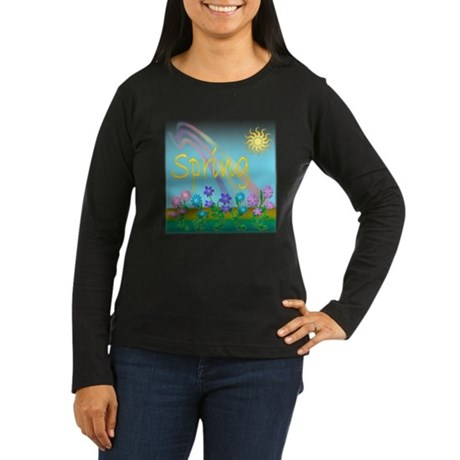Spring Flowers Women's Long Sleeve Dark T-Shirt