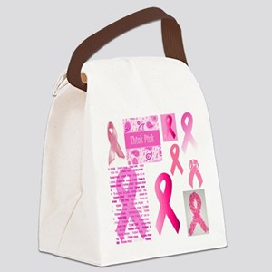 Pink Ribbon Patchwork Canvas Lunch Bag