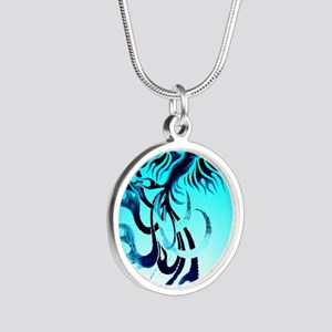Blue Phoenix 2 Silver Round Necklace
