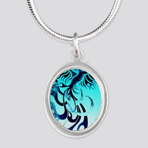 Blue Phoenix 2 Silver Oval Necklace