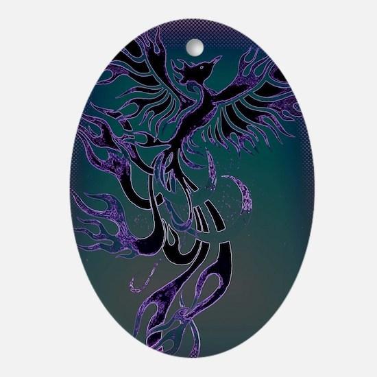 Blue Phoenix Oval Ornament