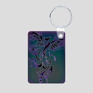 Blue Phoenix Aluminum Photo Keychain