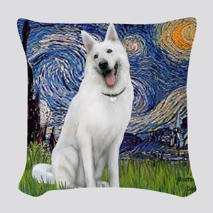 Starry-White German Shepherd Woven Throw Pillow
