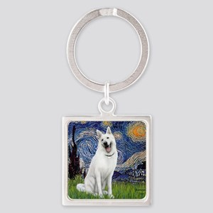 Starry-White German Shepherd Square Keychain
