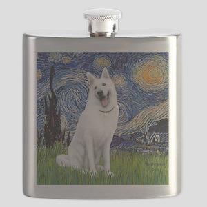 Starry-White German Shepherd Flask