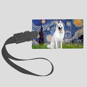Starry-White German Shepherd Large Luggage Tag