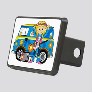 Hippie Girl and Camper Van Rectangular Hitch Cover