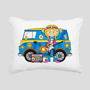 Hippie Girl and Camper V Rectangular Canvas Pillow