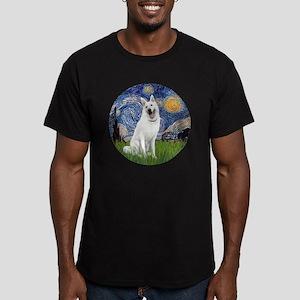 white german shepherd Men's Fitted T-Shirt (dark)