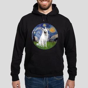 white german shepherd Hoodie (dark)