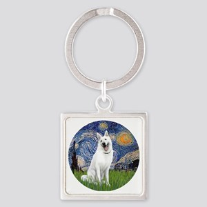 white german shepherd Square Keychain