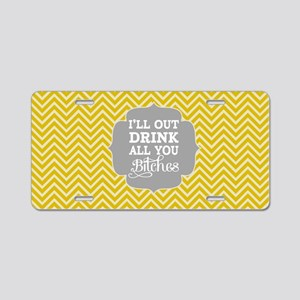 Out Drink Aluminum License Plate