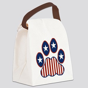 Patriotic Paw Print Canvas Lunch Bag