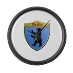Berlin Germany Metallic Shield Large Wall Clock