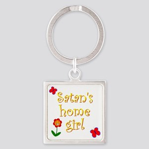 Satans Home Girl Square Keychain
