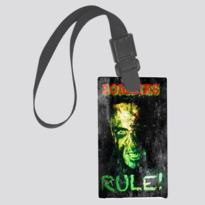 Zombies Rule Green Glow Large Luggage Tag