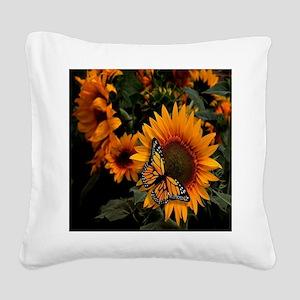 Sunflower Radiance Monarch Bu Square Canvas Pillow