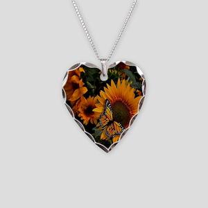 Sunflower Radiance Monarch Bu Necklace Heart Charm