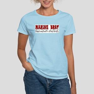 Marine Brat Plays Well .. Bra Women's Light T-Shir