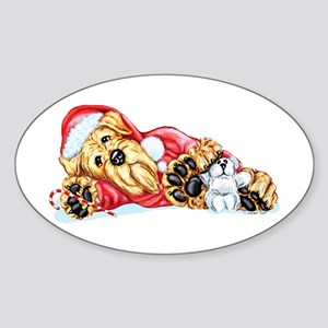Airedale Christmas Santa Oval Sticker