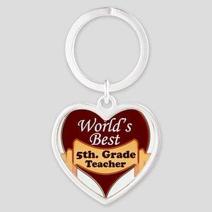 Worlds Best 5th. Grade Teacher Heart Keychain