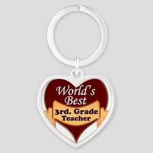 Worlds Best 3rd. Grade Teacher Heart Keychain