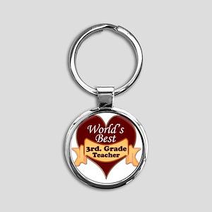 Worlds Best 3rd. Grade Teacher Round Keychain