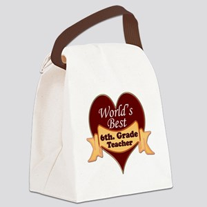Worlds Best 6th. Grade Teacher Canvas Lunch Bag