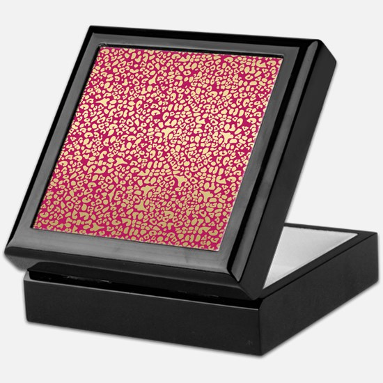 Pink and Gold Glam Leopard Pattern Keepsake Box