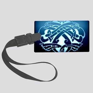 blue two dogs celtic knot Large Luggage Tag
