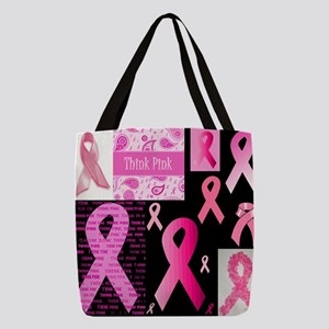 Pink Ribbon Patchwork Polyester Tote Bag