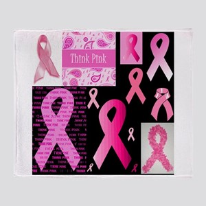Pink Ribbon Patchwork Throw Blanket