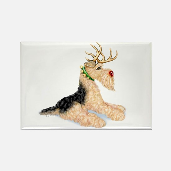 Airedale Christmas Dale Deer Rectangle Magnet
