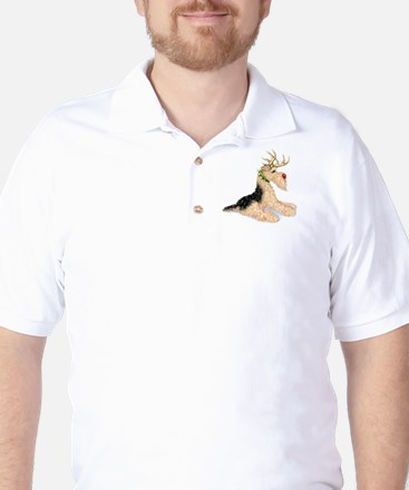 Airedale Christmas Dale Deer Golf Shirt