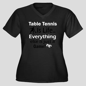 table tennis Women's Plus Size Dark V-Neck T-Shirt