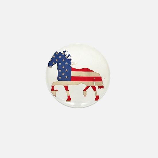 American Flag Friesian Horse Mini Button