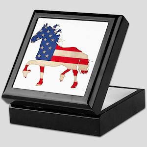 American Flag Friesian Horse Keepsake Box