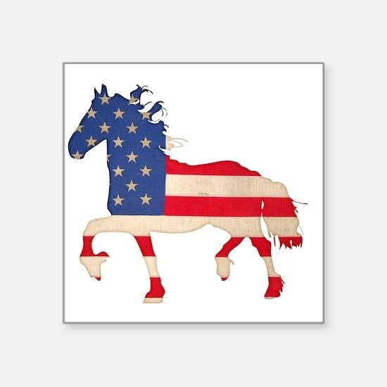 "American Flag Friesian Hors Square Sticker 3"" x 3"""