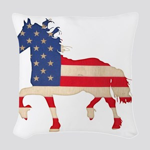 American Flag Friesian Horse Woven Throw Pillow