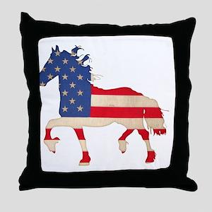 American Flag Friesian Horse Throw Pillow
