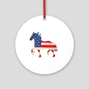 American Flag Friesian Horse Round Ornament