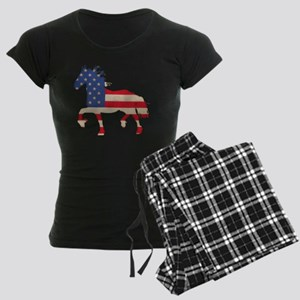 American Flag Friesian Horse Women's Dark Pajamas