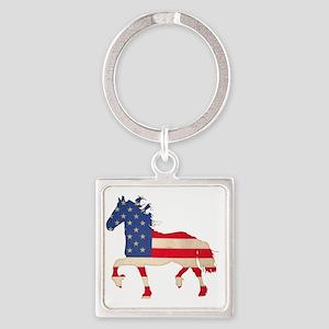 American Flag Friesian Horse Square Keychain