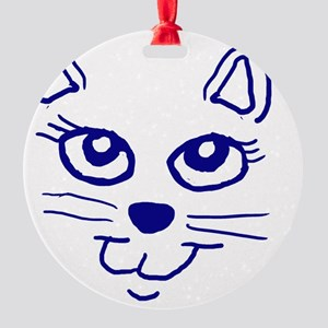 Cat face blue Round Ornament