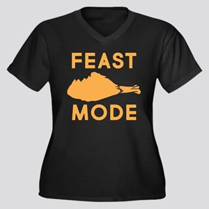 Feast Mode Women's Plus Size V-Neck Dark T-Shirt