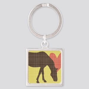 Horse Grazing Square Keychain