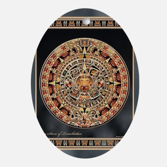 Sun Stone of Ancient Tenochtitlan Oval Ornament
