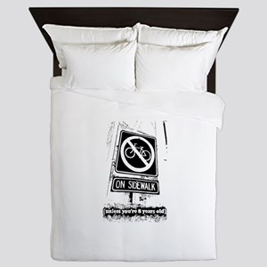 No Bicycling on the Sidewalk Queen Duvet