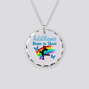 BORN TO SKATE Necklace Circle Charm